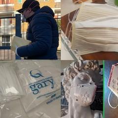 Luigi Presicce riceve da Dalila Palumbo le mascherine realizzate per i volontari jfif