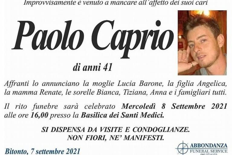 Il manifesto funebre di Paolo Caprio