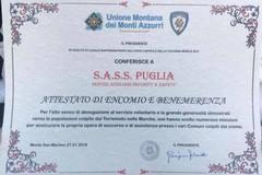 Terremoto Marche: encomio e benemerenza per l'operato dei volontari bitontini del Sass Puglia