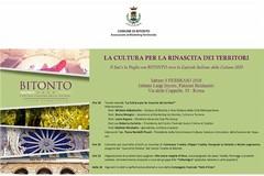 Bitonto, «La Cultura per la rinascita dei territori»