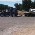 Incidente sulla Bitonto Palombaio: un'auto e un camioncino finiscono fuori strada