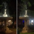 In piazza Marconi torna l'acqua nelle fontane e la luce le fa splendere