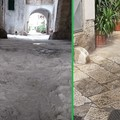 Il centro storico di Bitonto imbrattato con la calce idrata