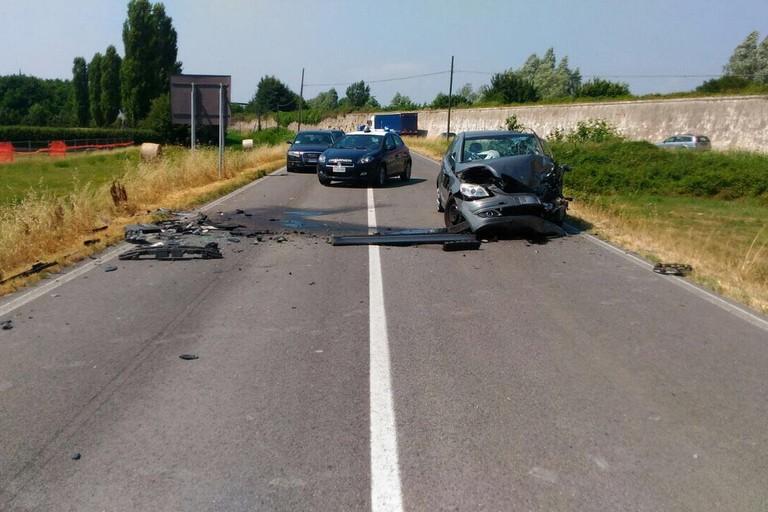 L'incidente avvenuto sulla strada provinciale Bitonto-Palo