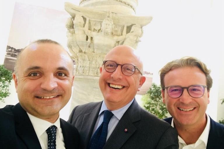 DAttis e Damiani Al centro il vicepresidente della Sicilia Armao