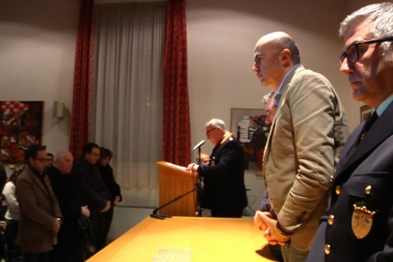 La cerimonia di San Sebastiano durante il minuto di silenzio in ricordo di Anna Rosa Tarantino