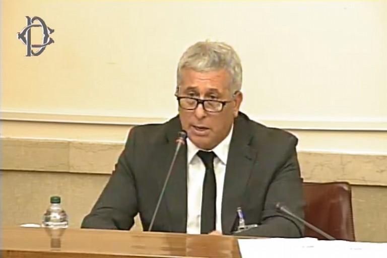 Gennaro Sicolo durante la sua audizione in Parlamento