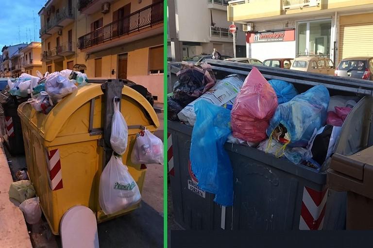 I cassonetti traboccanti di rifiuti a Bitonto