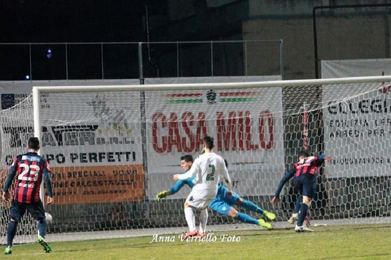 Il gol dei rossobl. <span>Foto Anna Verriello</span>