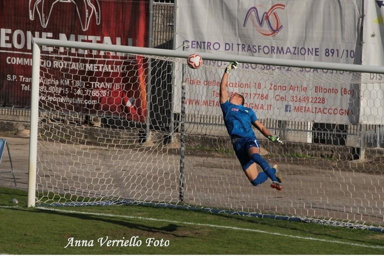 Il gol di Pozzebon. <span>Foto Anna Verriello</span>
