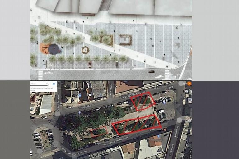 Il rendering della piazza confrontato con la sua conformazione attuale