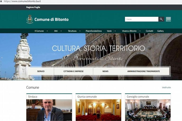 La homepage del nuovo sito del comune di Bitonto