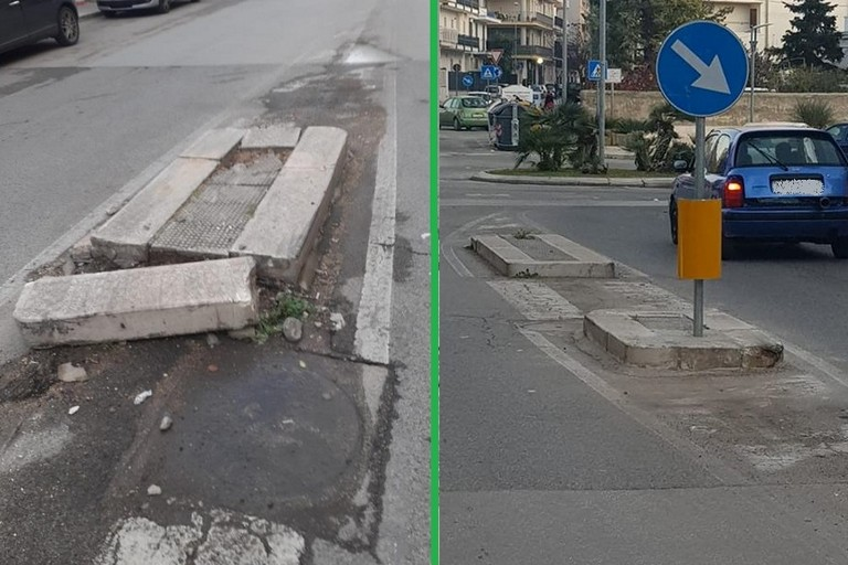 Lo spartitraffico demolito e poi riparato in via Ricapito