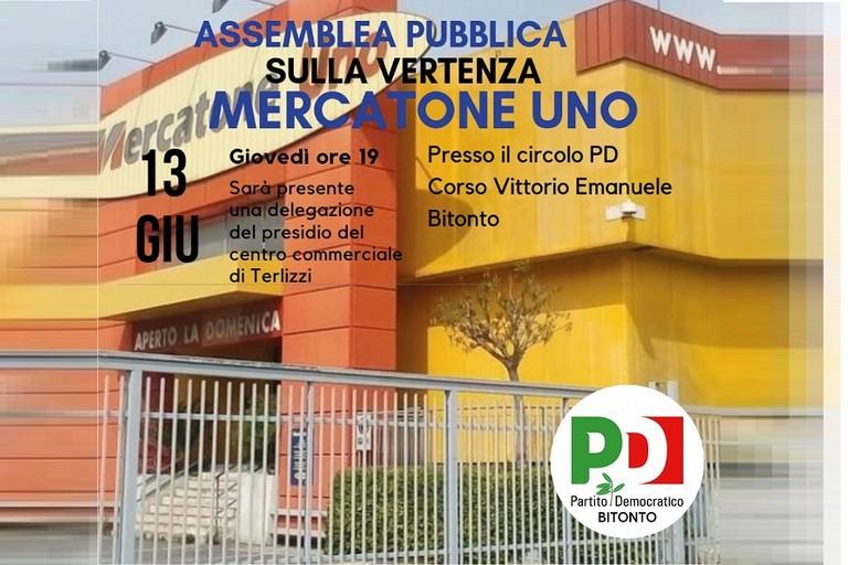 Domani assemblea su Mercatone Uno al Pd di Bitonto