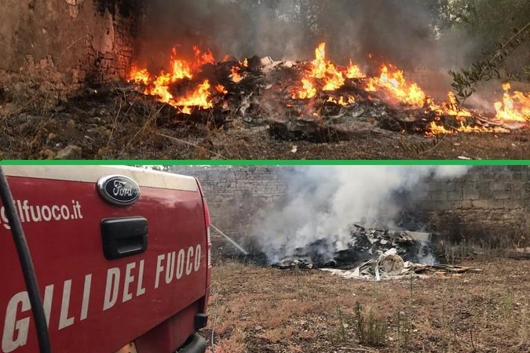 Nuovo incendio di rifiuti su via Traiana
