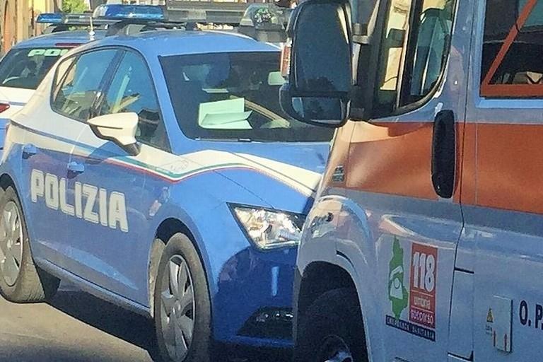 L'intervento del 118 e della Polizia di Stato